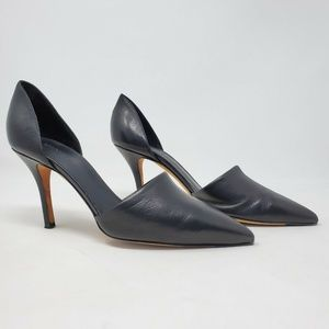 Vince DOrsay Black Leather Pointy Toe Pumps Heels